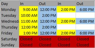 Updated Hours for website
